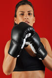 Beautiful woman with the black boxing gloves Stock Photos