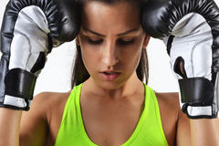 Beautiful woman with the black boxing gloves Royalty Free Stock Photo