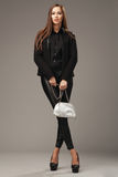 Beautiful woman in black clothing with a silver fashion bag Royalty Free Stock Image