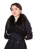 Beautiful woman in black coat Royalty Free Stock Photography
