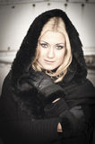Beautiful Woman in black Coat Royalty Free Stock Image