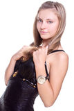 Beautiful woman in a black dress Royalty Free Stock Photos