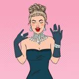 Beautiful Woman in Black Dress with Diamond Jewelry. Pop Art illustration Stock Photos
