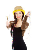 Beautiful woman in black dress,golden hat and champagne. Stock Image