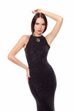 Beautiful woman in a black dress Stock Photography