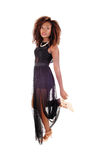 Beautiful woman in black dress. Stock Photo