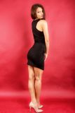 Beautiful woman in black dress Royalty Free Stock Images