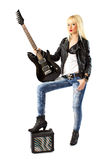 Beautiful woman with black electric guitar Stock Photos