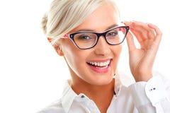 Beautiful woman in black eyeglasses Stock Images