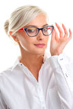 Beautiful woman in black eyeglasses Royalty Free Stock Image