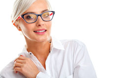 Beautiful woman in black eyeglasses Royalty Free Stock Photography