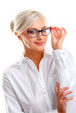 Beautiful woman in black eyeglasses Stock Photo