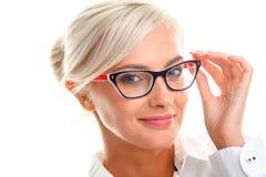 Beautiful woman in black eyeglasses Stock Image