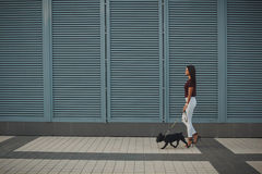 Beautiful woman with black french bulldog puppy at the street Stock Image