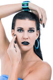 Beautiful woman in black glamour  makeup Stock Photos