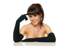 Beautiful woman in a black glove Stock Image