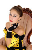 Beautiful woman with black gloves. Royalty Free Stock Image