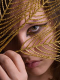 Beautiful woman with black and gold eyeliner make-up looking thr Royalty Free Stock Image