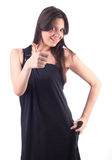 Beautiful woman in black gown, happy. Isolated royalty free stock photography