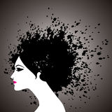 Beautiful woman with black hair Stock Photos