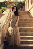 Beautiful woman with black hair in luxurious dress posing on stairs Stock Images