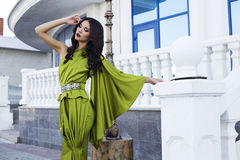 Beautiful woman with black hair in luxurious silk dress Royalty Free Stock Photo