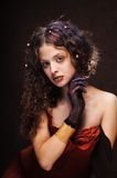 Beautiful woman with black hand Stock Photo