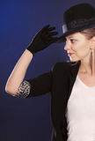 Beautiful woman in black hat Royalty Free Stock Images