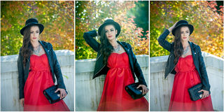 Beautiful woman with black hat posing in autumnal park. Young brunette spending time during autumn in forest Stock Image