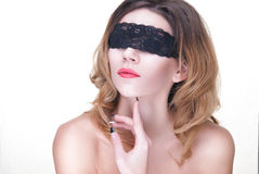 Beautiful Woman in Black Lace Royalty Free Stock Photo