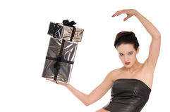 Beautiful woman in black leather corset Stock Photos