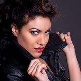 Beautiful Woman in Black Leather Jacket Stock Images