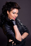 Beautiful Woman in Black Leather Jacket Stock Photography