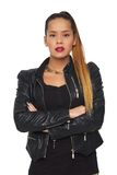 Beautiful Woman in Black Leather Jacket Royalty Free Stock Photo