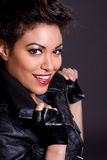 Beautiful Woman in Black Leather Jacket Portrait Stock Images