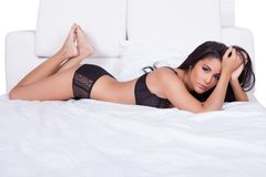 Beautiful woman in black lingerie Royalty Free Stock Image