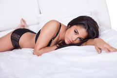 Beautiful woman in black lingerie Stock Photos