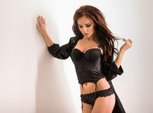 Beautiful woman in black lingerie Royalty Free Stock Photo