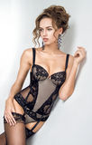 Beautiful woman in black lingerie Stock Images