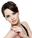 Beautiful woman with black manicure Stock Photo