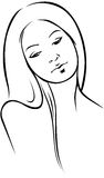 Beautiful woman  - black outline Stock Images