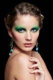 Beautiful woman on black Stock Photography