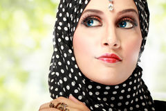 Beautiful woman with black scarf Royalty Free Stock Photos