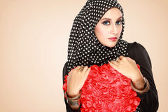 Beautiful woman with black scarf Stock Photography