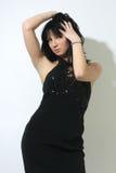 Beautiful woman in black sexy dress Royalty Free Stock Photo