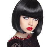 Beautiful Woman With Black Short Hair. Haircut. Hairstyle.  Royalty Free Stock Photography