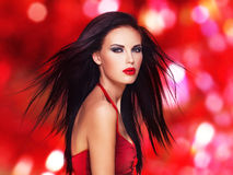 Beautiful woman with  black straight hairs Royalty Free Stock Image