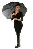 Beautiful woman with black umbrella Royalty Free Stock Photo