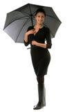 Beautiful woman with black umbrella Royalty Free Stock Photo