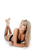The beautiful woman in black underwear Royalty Free Stock Photo